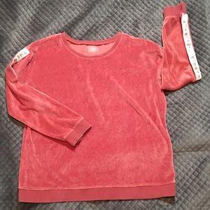 Jessica Simpson The Warmup Pink Velour Sweatshirt